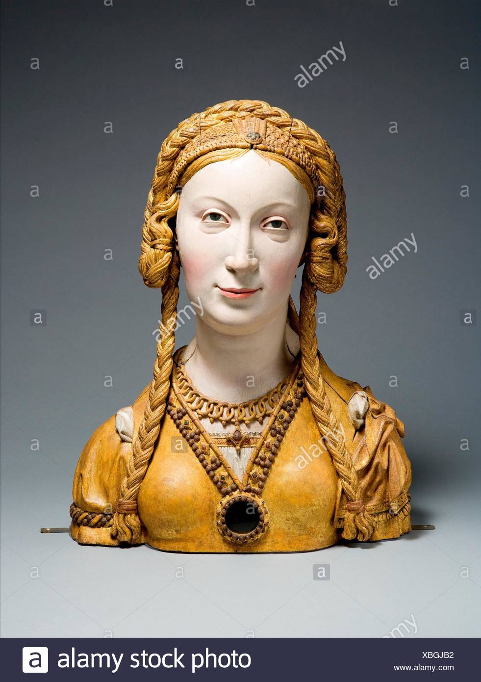 Reliquary Bust of a Female Saint. Date: ca. 1520-30; Geography: Made in possibly Brussels, Belgium; Culture: South Netherlandish; Medium: Oak, paint, - Stock Image