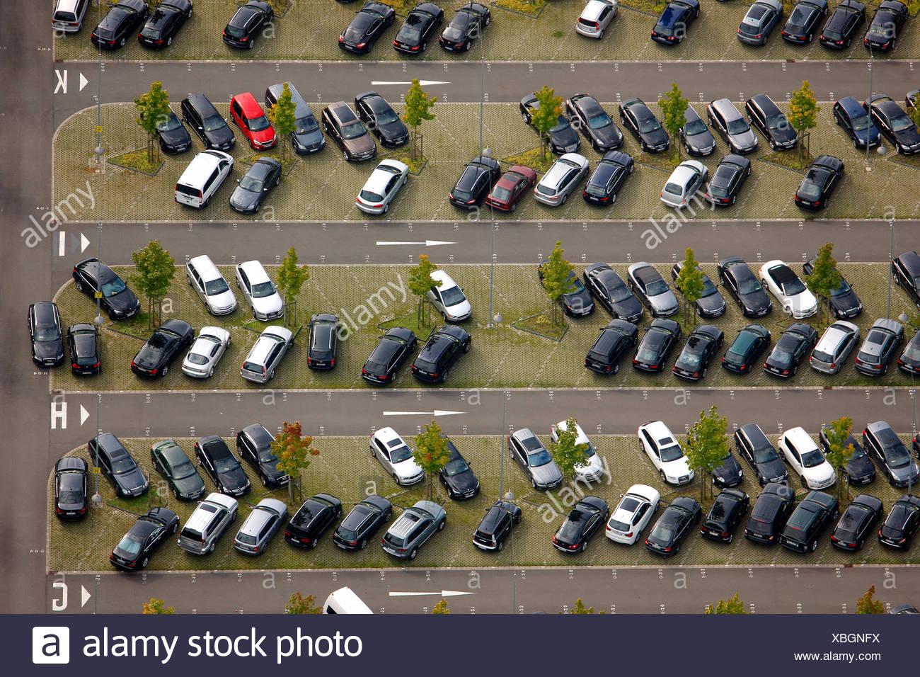 Aerial view, VIP parking, Westfalenstadion football stadium, Signal Iduna Park, Dortmund, Ruhr area, North Rhine-Westphalia - Stock Image