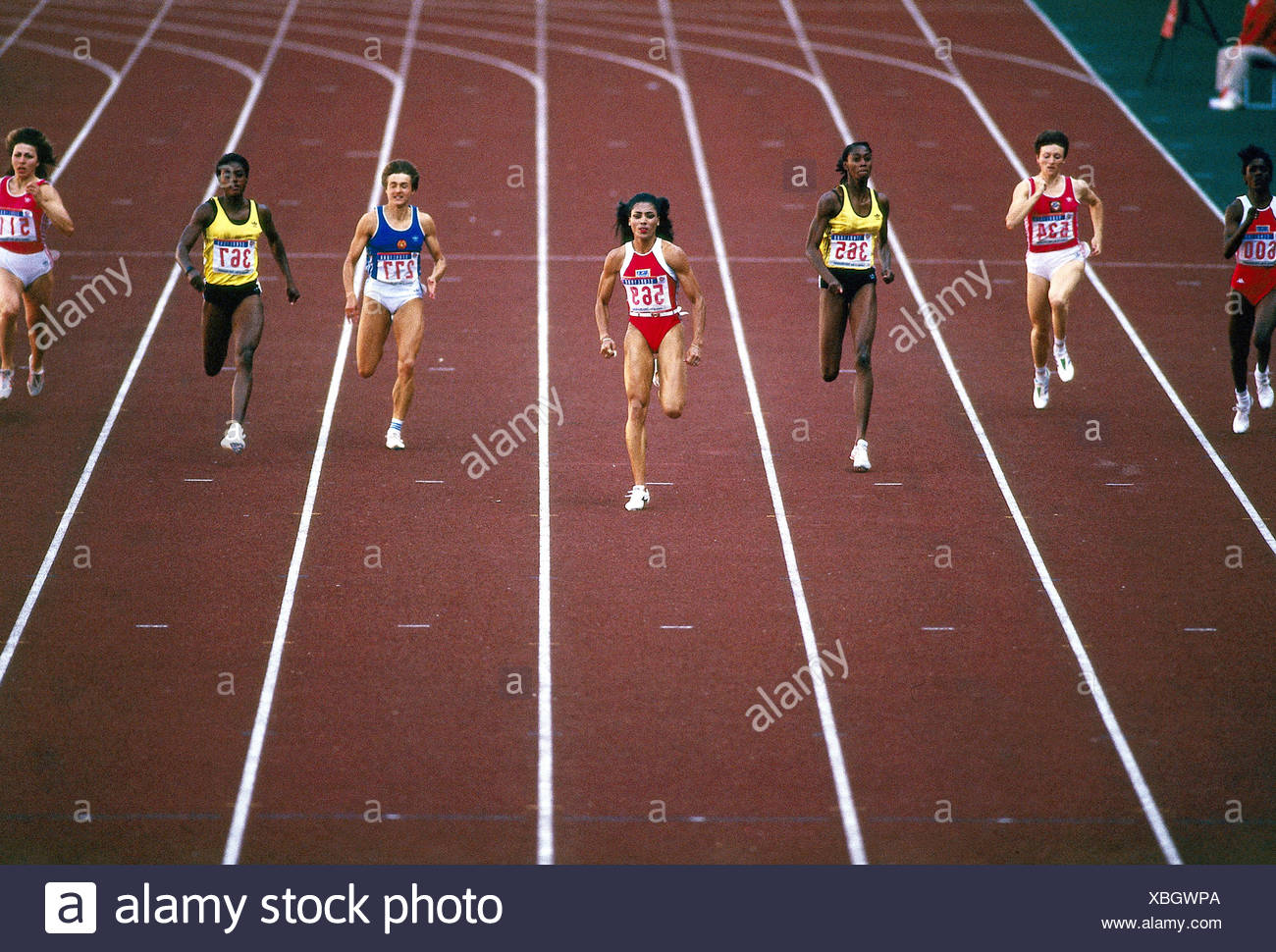 Griffith-Joyner, Florence, 21.12.1959 - 21.9.1998, American athlete (athletics), full length, Olympic Games, Seoul, 1988, Additional-Rights-Clearances-NA - Stock Image