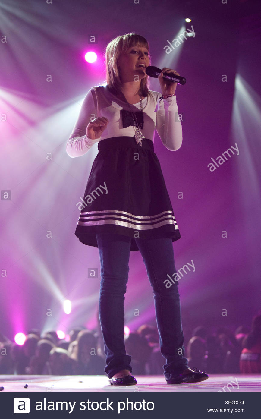 Young Swiss singer Julia Star, known for starring in the TV show Supertalent, live at the Energy Stars For Free event at the - Stock Image
