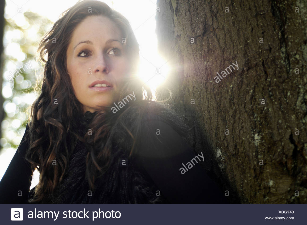 Portrait of young woman by tree trunk in autumn - Stock Image