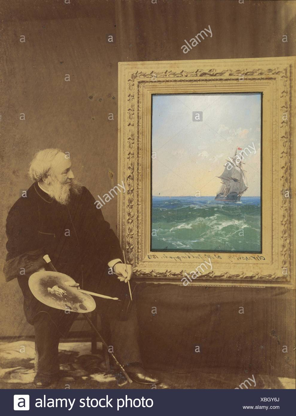 [Ivan Constantinovich Aivasovski]. Photography Studio: Babayeva Studio, Russian (Russian, active 1890s); Artist: Ivan Konstantinovich Aivazovsky - Stock Image