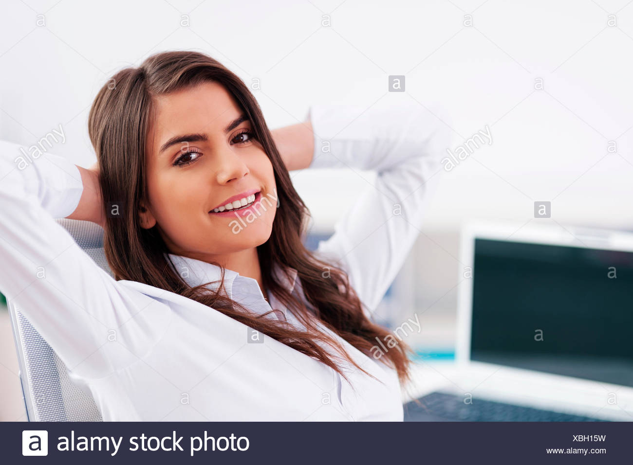 Relaxed businesswoman Debica, Poland - Stock Image