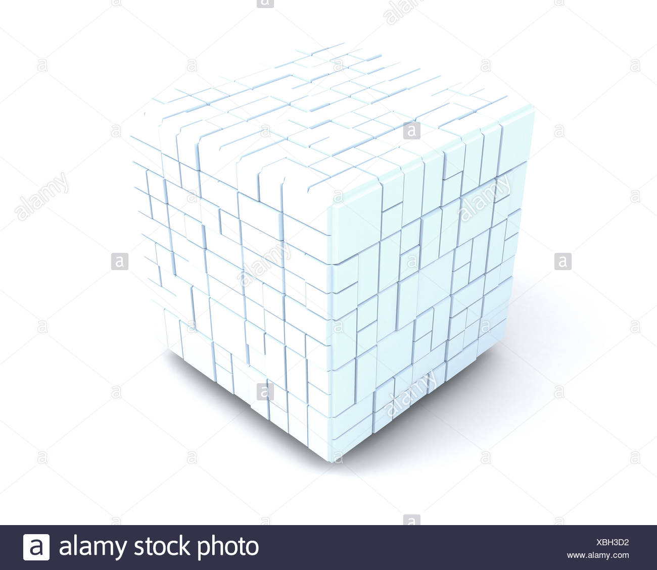 big white cube consisting of many small ones. team - Stock Image