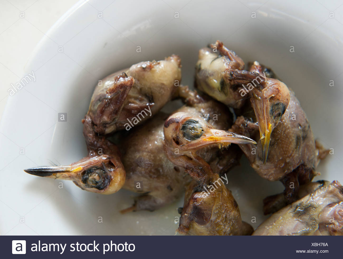 Ambelopoulia (means birds of the vineyards) mainly Blackcaps prepared to be served in a restaurant as a delicacy Cyprus Stock Photo