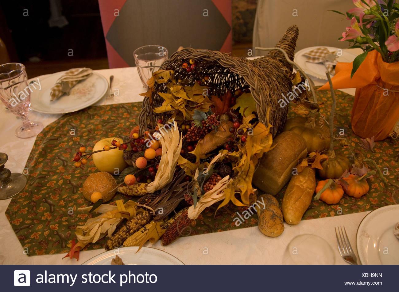 A Thanksgiving cornucopia. - Stock Image