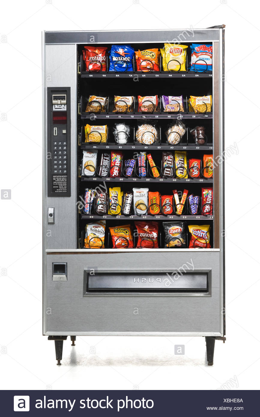 vending machine full of junk food - Stock Image