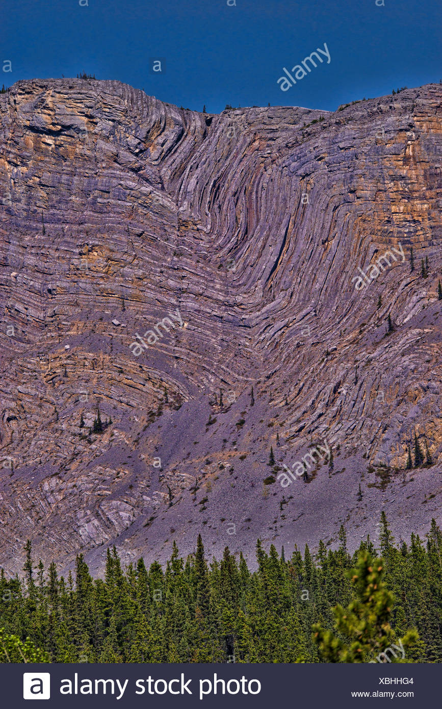anticline geologic formation along alaska highway,yukon,canada Stock Photo