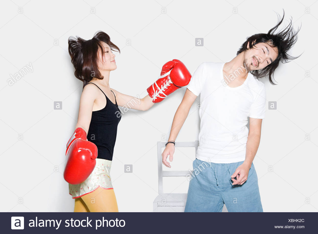 Couple boxing - Stock Image