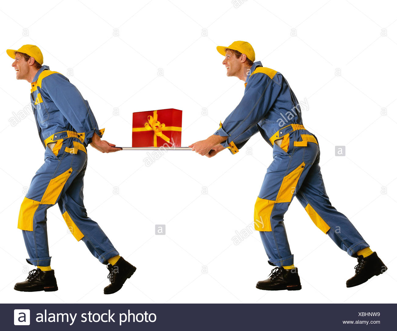 Messengers, present, block, there run, tread, professions, man, occupation, parcel delivers, package delivery, package, studio, cut out, messenger, humor, - Stock Image