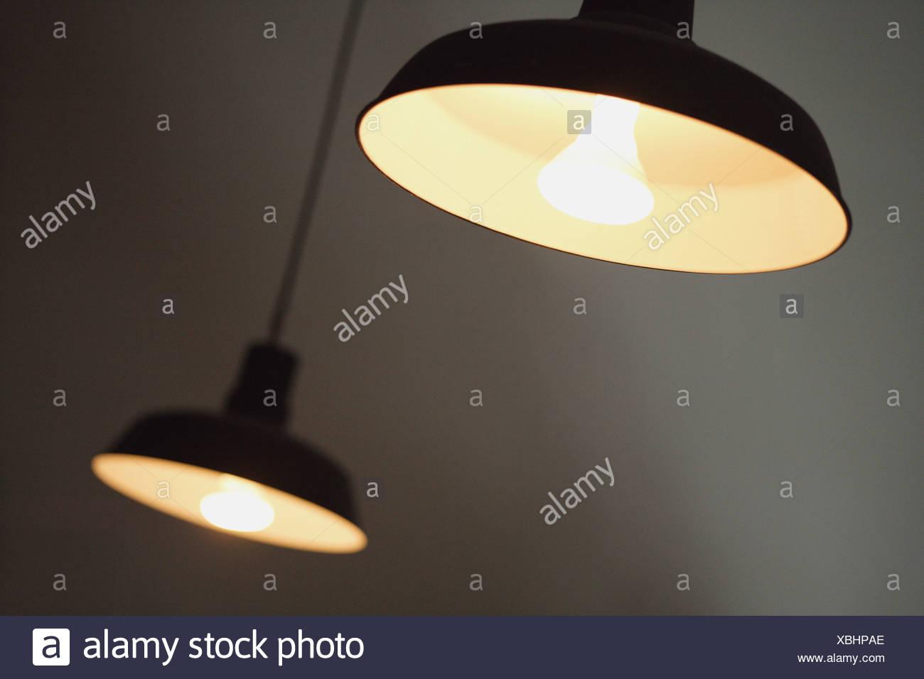 Two pendant light fittings - Stock Image