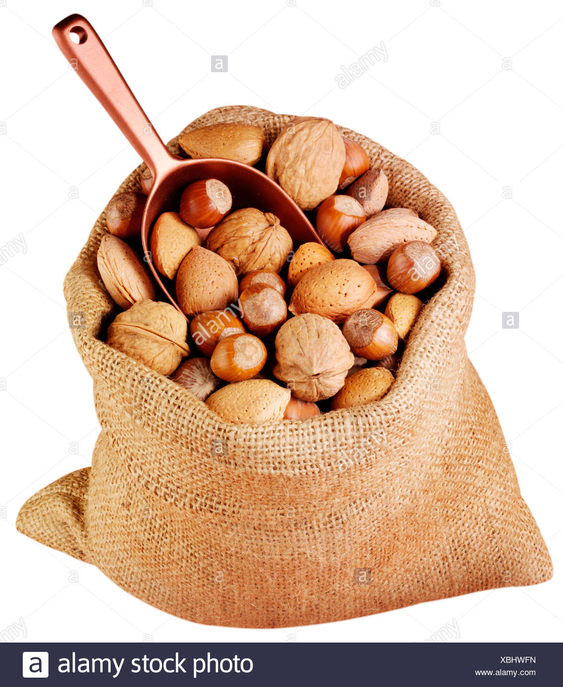 SACK OF MIXED NUTS CUT OUT - Stock Image