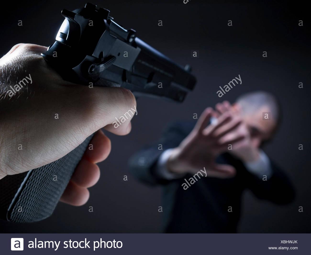 crime victim shot - Stock Image