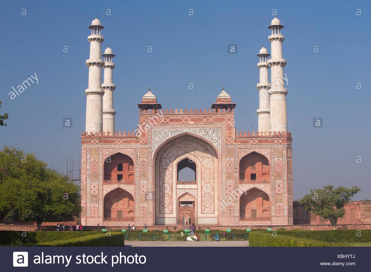 Tomb, Sikandra, Agra, Uttar Pradesh, towers, religion, Asia, - Stock Image