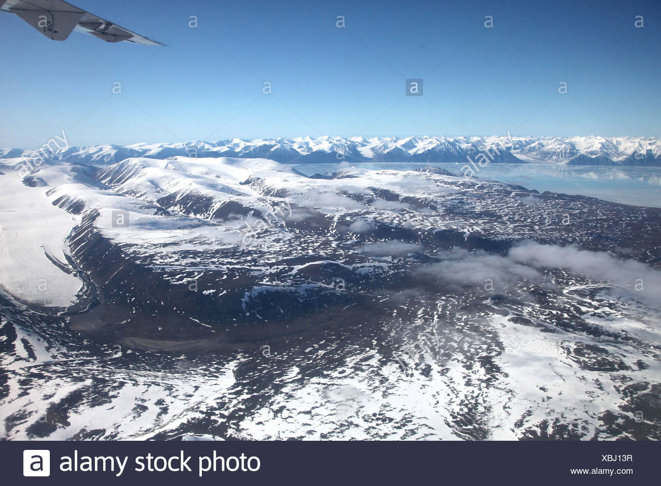 view from the northern end of Baffin Island onto Bylot Island, Canada, Nunavut, Bylot Island - Stock Image