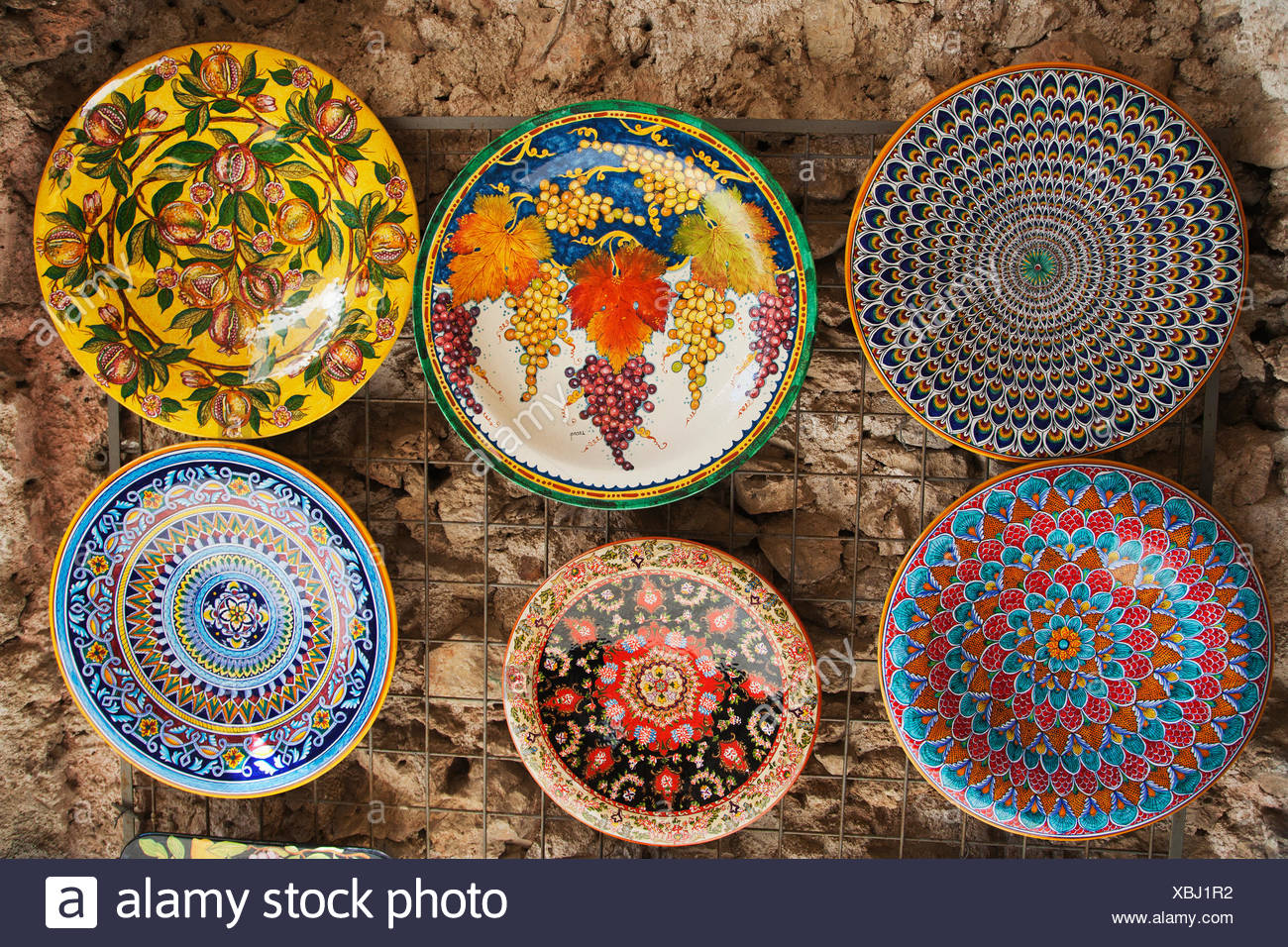 Italian Decorative Plates For Hanging.Decorative Plates Hanging At A Market Stall Amalfi