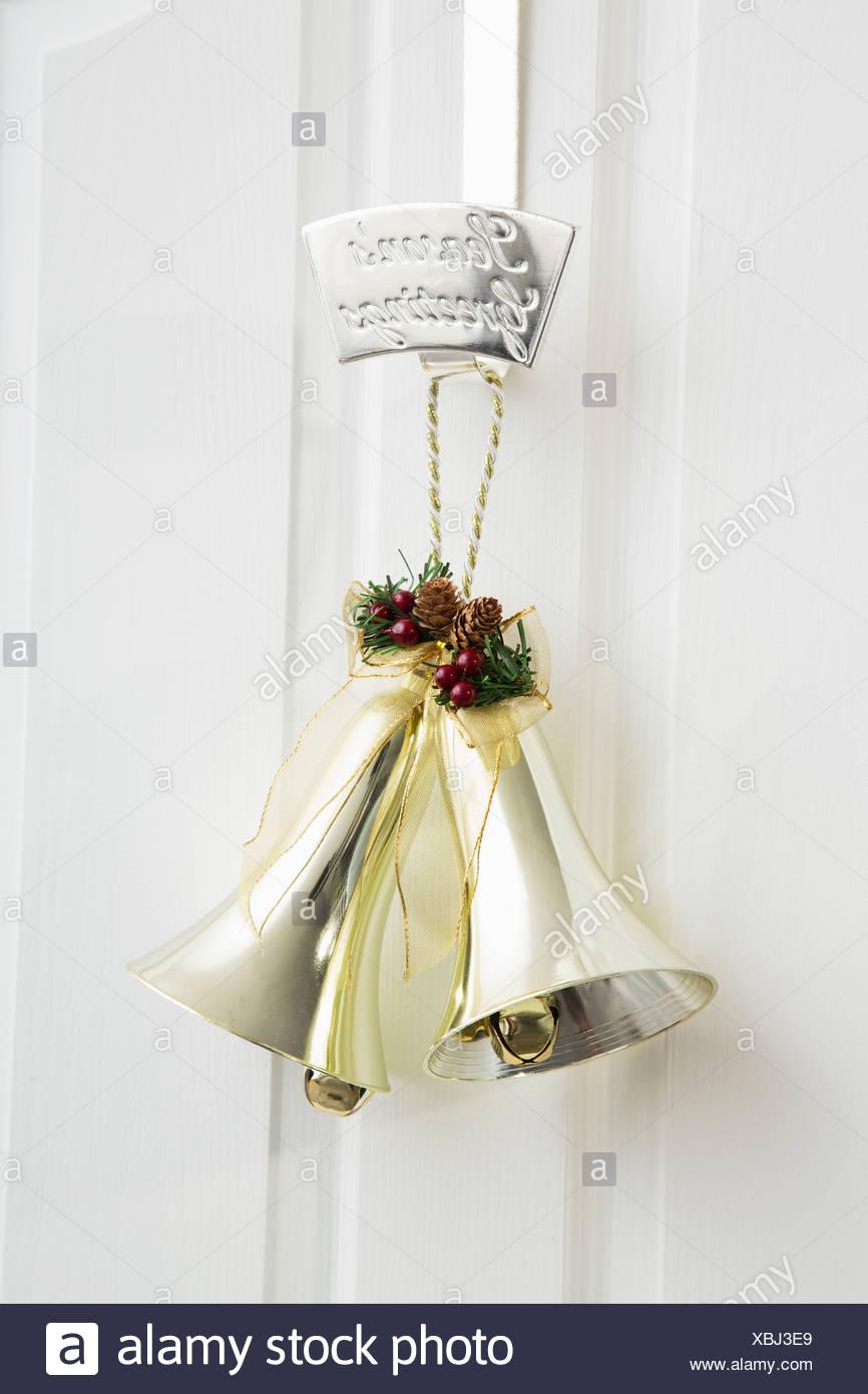 Golden Bells Hanging On Door   Stock Image