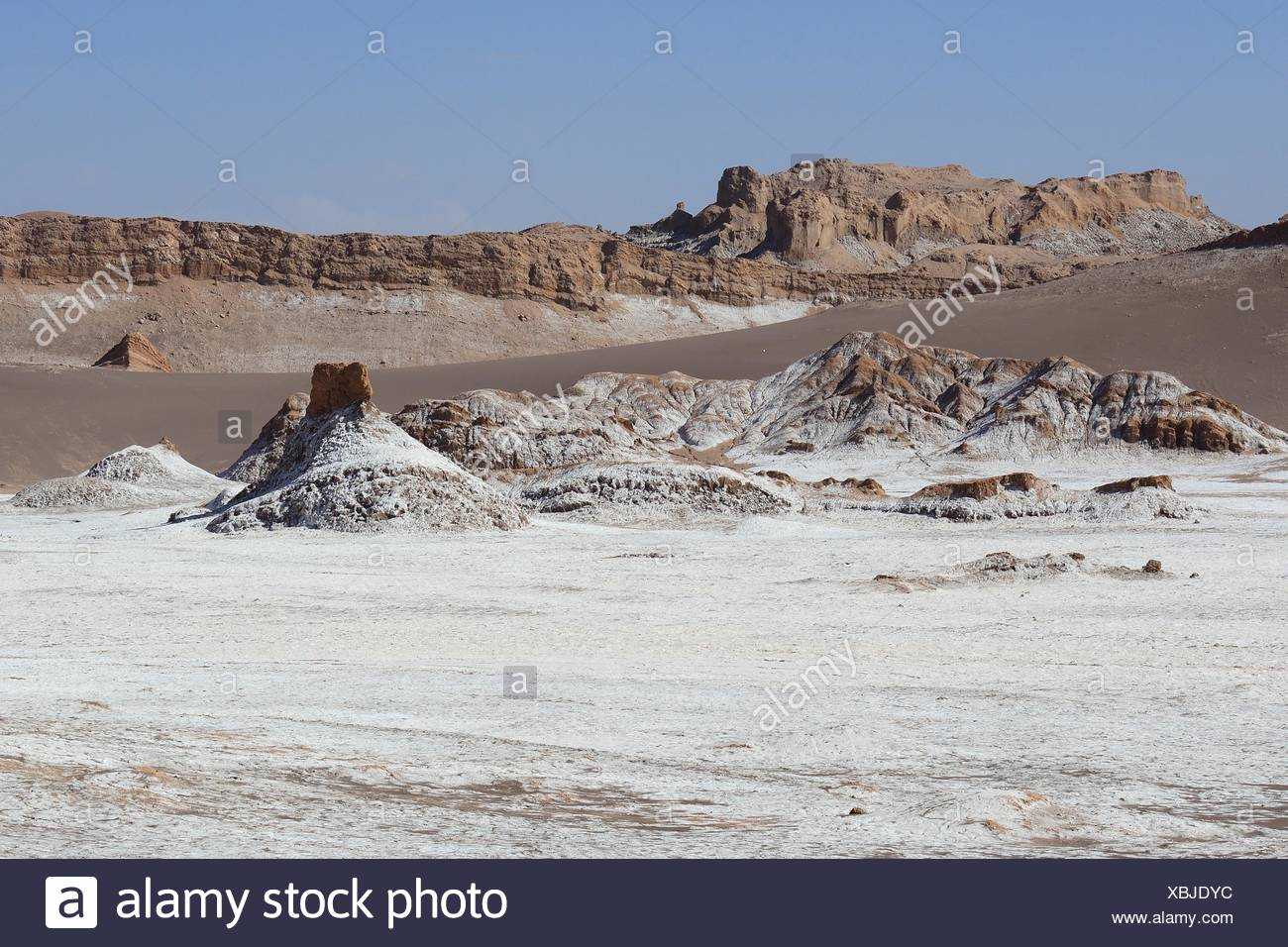 Salt surface in the Valley of the Moon, Valle de la Luna, San Pedro de Atacama, Antofagasta, Chile - Stock Image