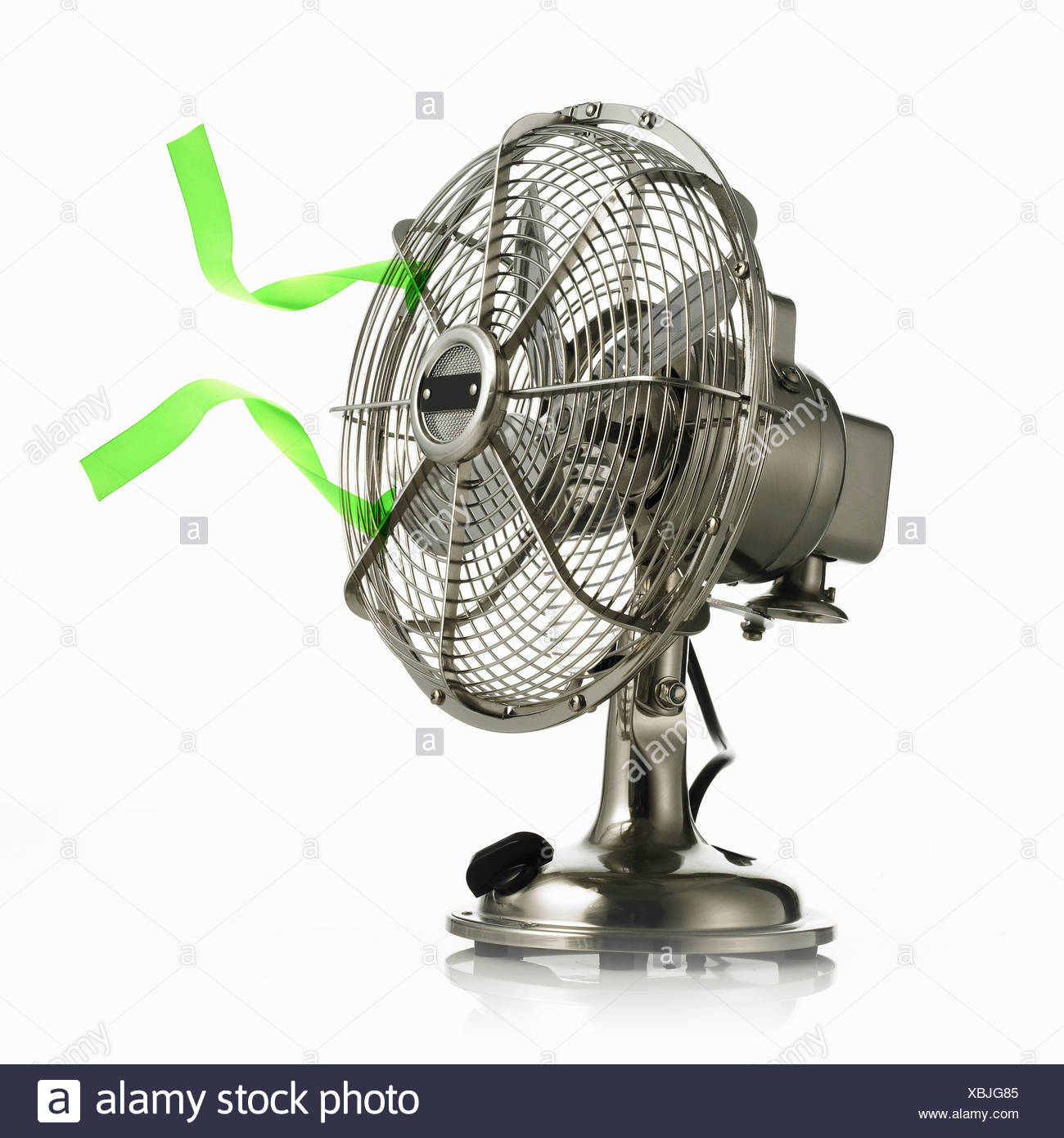 electric fan protective cage around moving parts - Stock Image