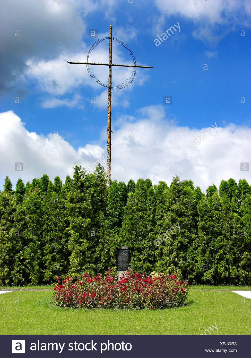 Mass Sepulchre with Krucifix and Spinous Crown Lidice Central Bohemia Region CR - Stock Image