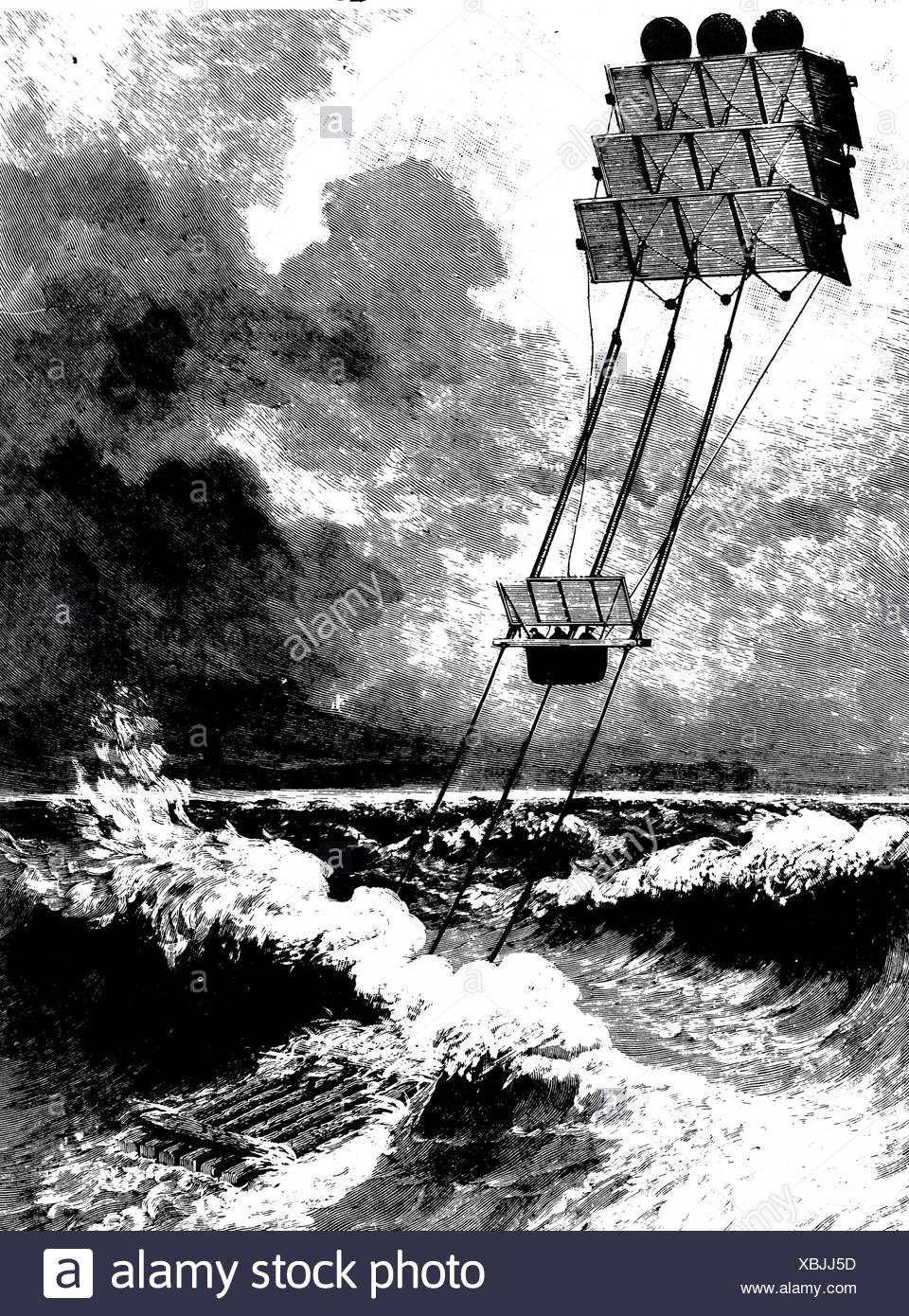 Thayer s Aerial Apparatus, 1890 - Stock Image