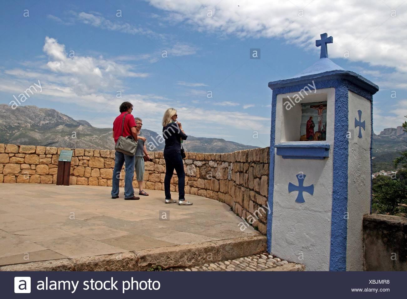 Via Crucis, Alcoçaiba Castle, Guadalest, Alicante, Spain Stock Photo