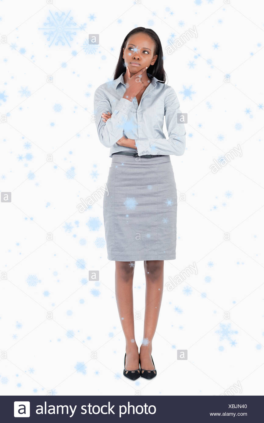 Composite image of portrait of a thoughtful businesswoman - Stock Image