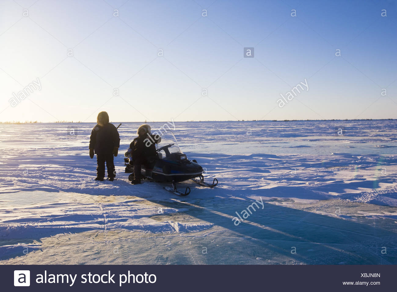 Canada, Manitoba, snow surface, men, two, snowmobile, - Stock Image