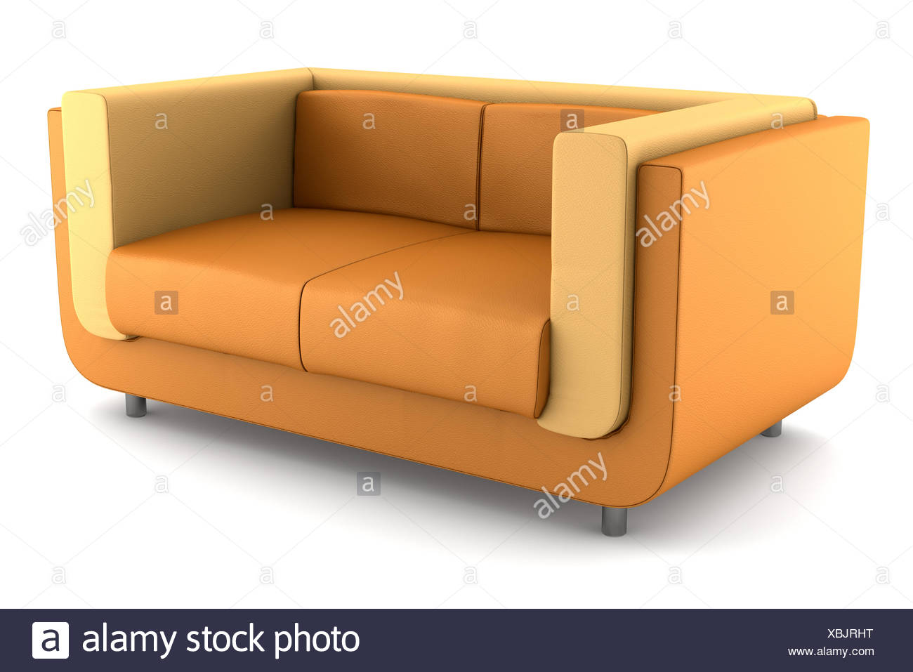 Phenomenal Modern Orange Leather Couch Isolated On White Stock Photo Machost Co Dining Chair Design Ideas Machostcouk