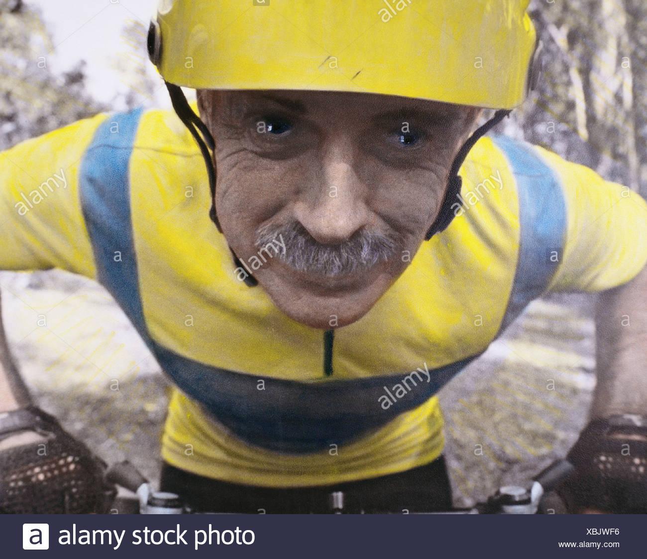 Senior mountain biker - Stock Image