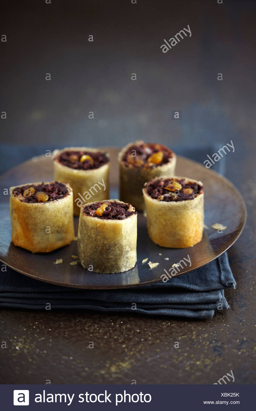 Blood sausage and raisin crisp rolls - Stock Image