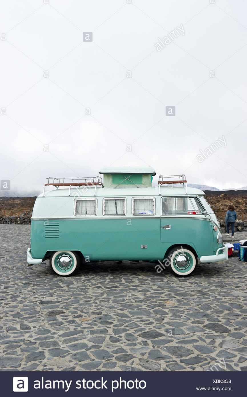 VW Bus, VW meeting, Teide National Park, Tenerife, Canary Islands, Spain, Europe - Stock Image