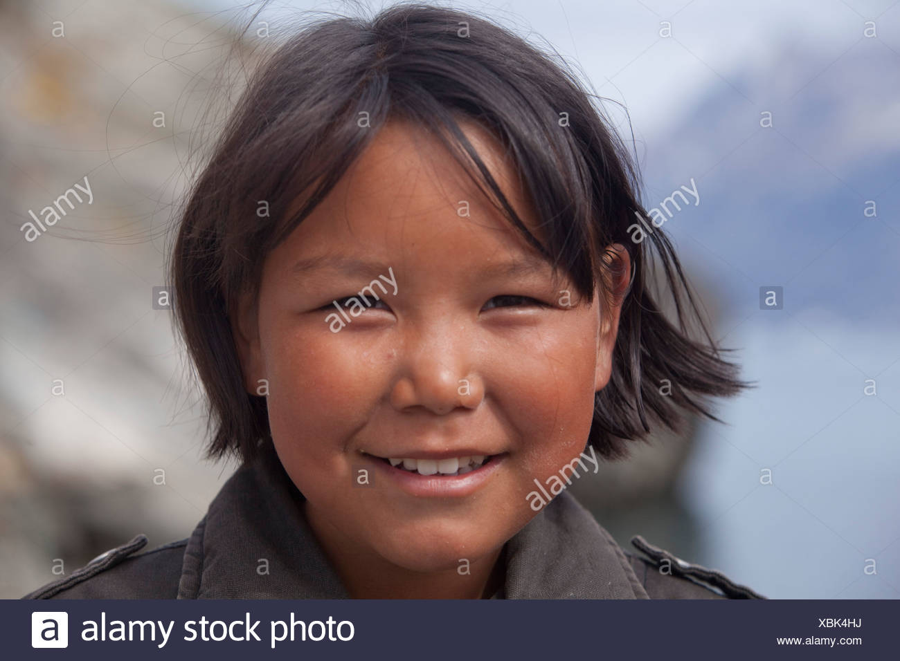 People, Inuit, Sermiligaaq, Greenland, East Greenland, ship, boat, ships, boats, child, children, girls - Stock Image