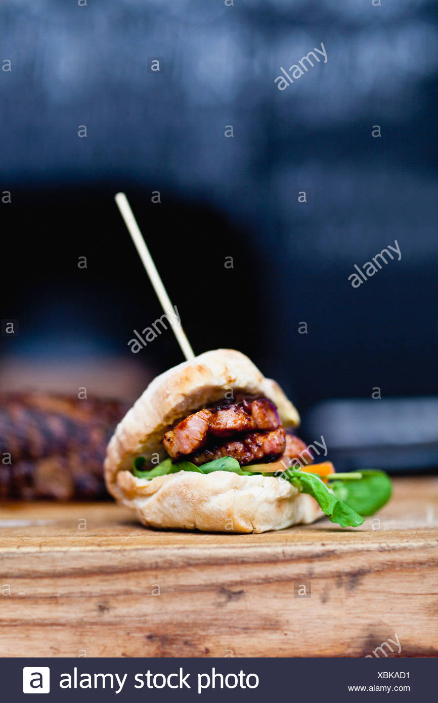 Close up of skewered sandwich - Stock Image