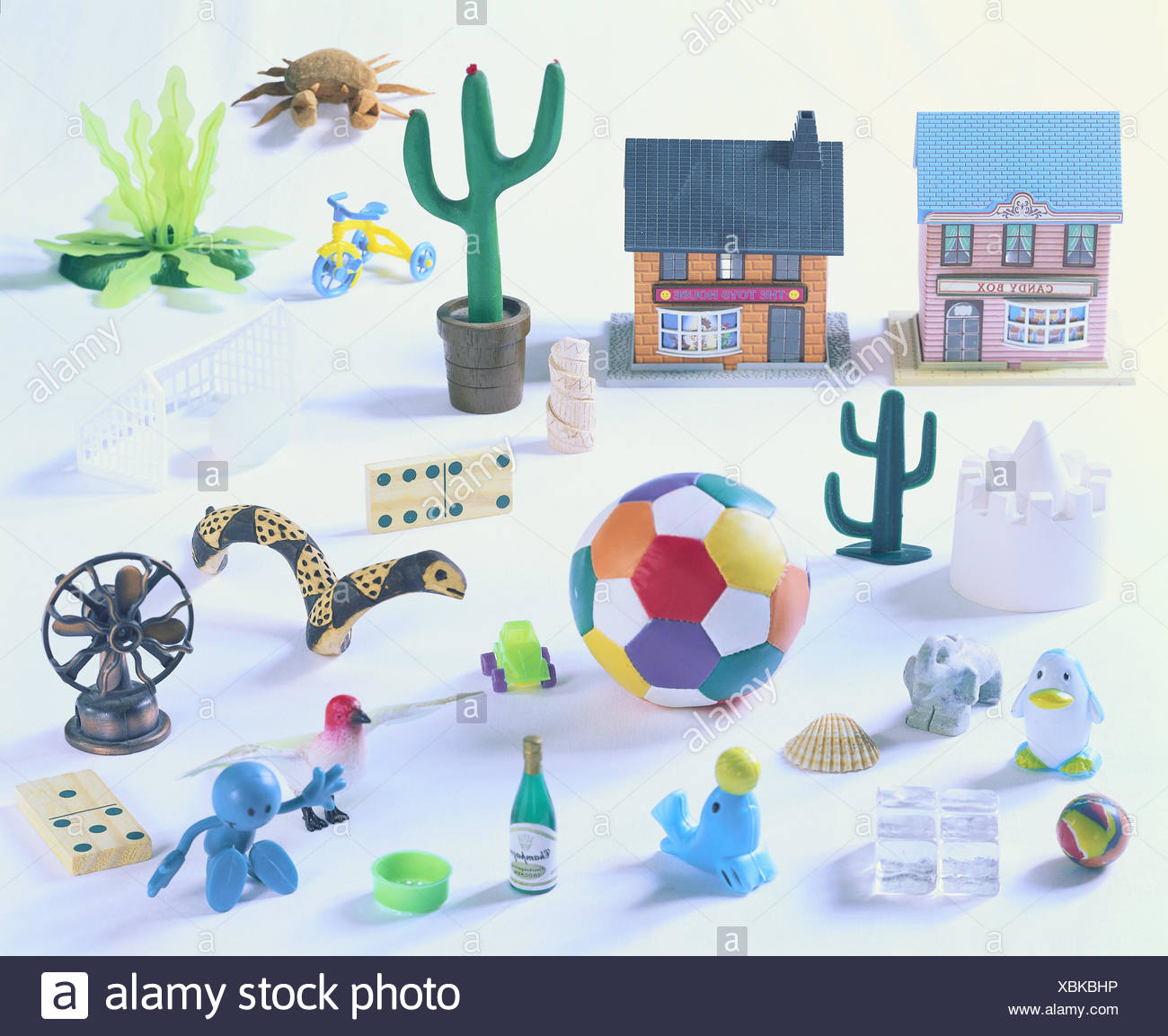 Toys, differently, game figures, figures, merged, miniatures, choice, small, game animals, game figures, objects, colours, forms, materials, conception, childhood, game instinct, variety, - Stock Image