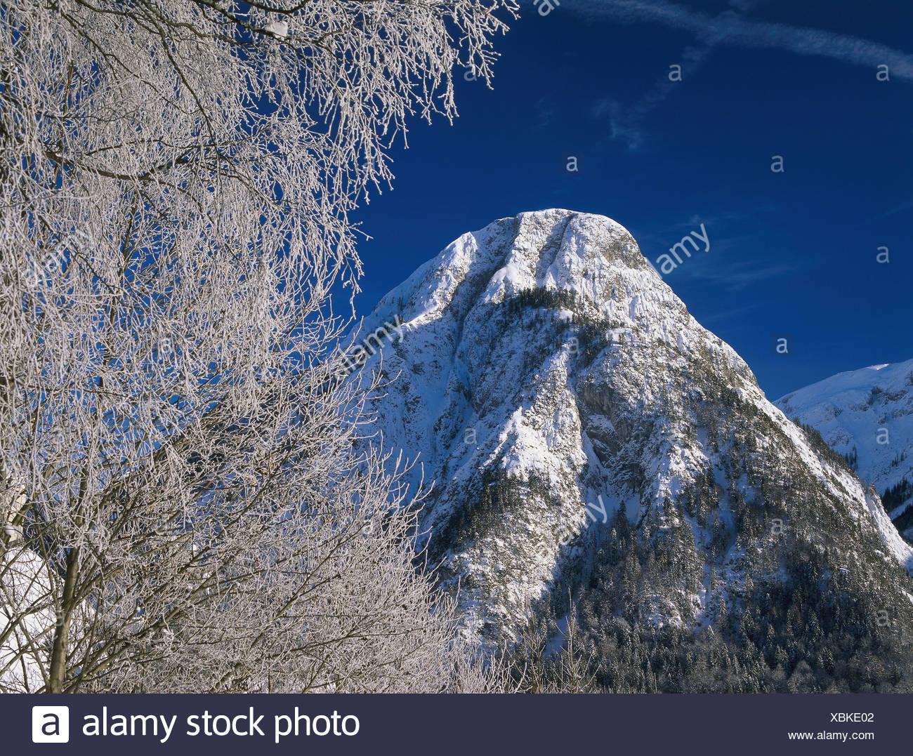 snowed in Austria Tyrol Maurach am achensee Bärenkopf winter North-Tyrol Karwendel-mountains mountain summit snow-covered - Stock Image