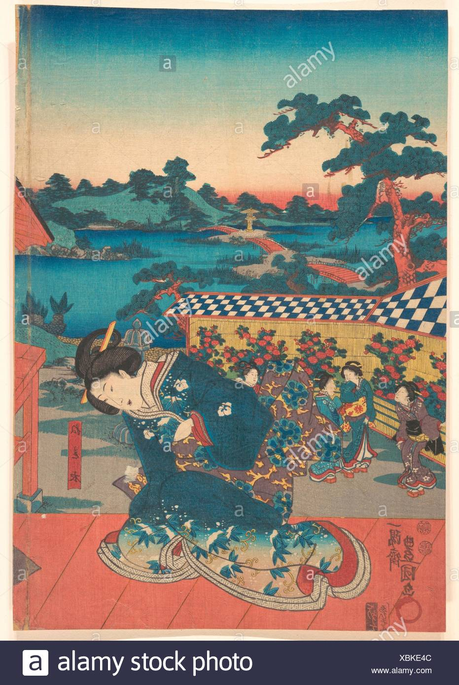 Print. Artist: Utagawa Kunisada (Japanese, 1786-1865); Period: Edo period (1615-1868); Culture: Japan; Medium: Polychrome woodblock print; ink and - Stock Image