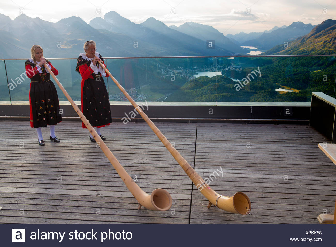alp horn bubbles on Muottas Muragl in Upper Engadine, Stock Photo