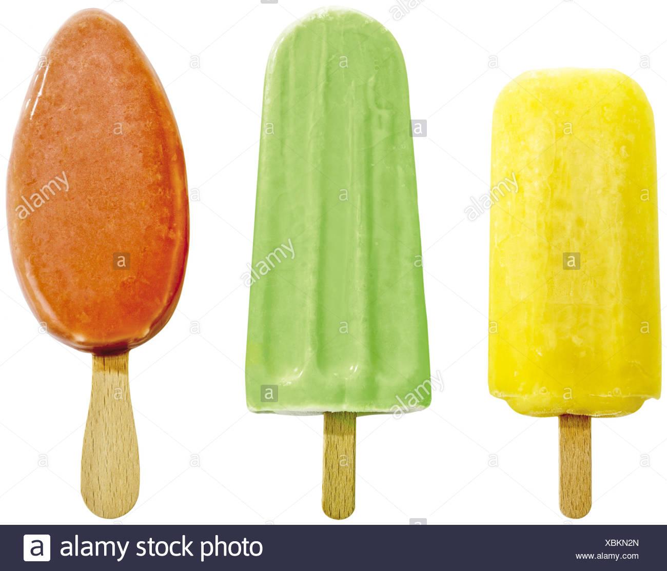 Eis am Stiel, drei Sorten Fruchteis - Stock Image