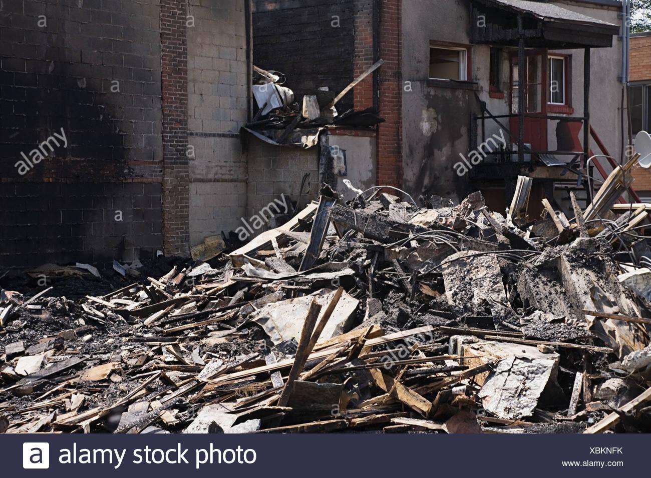 Burnt down house - Stock Image