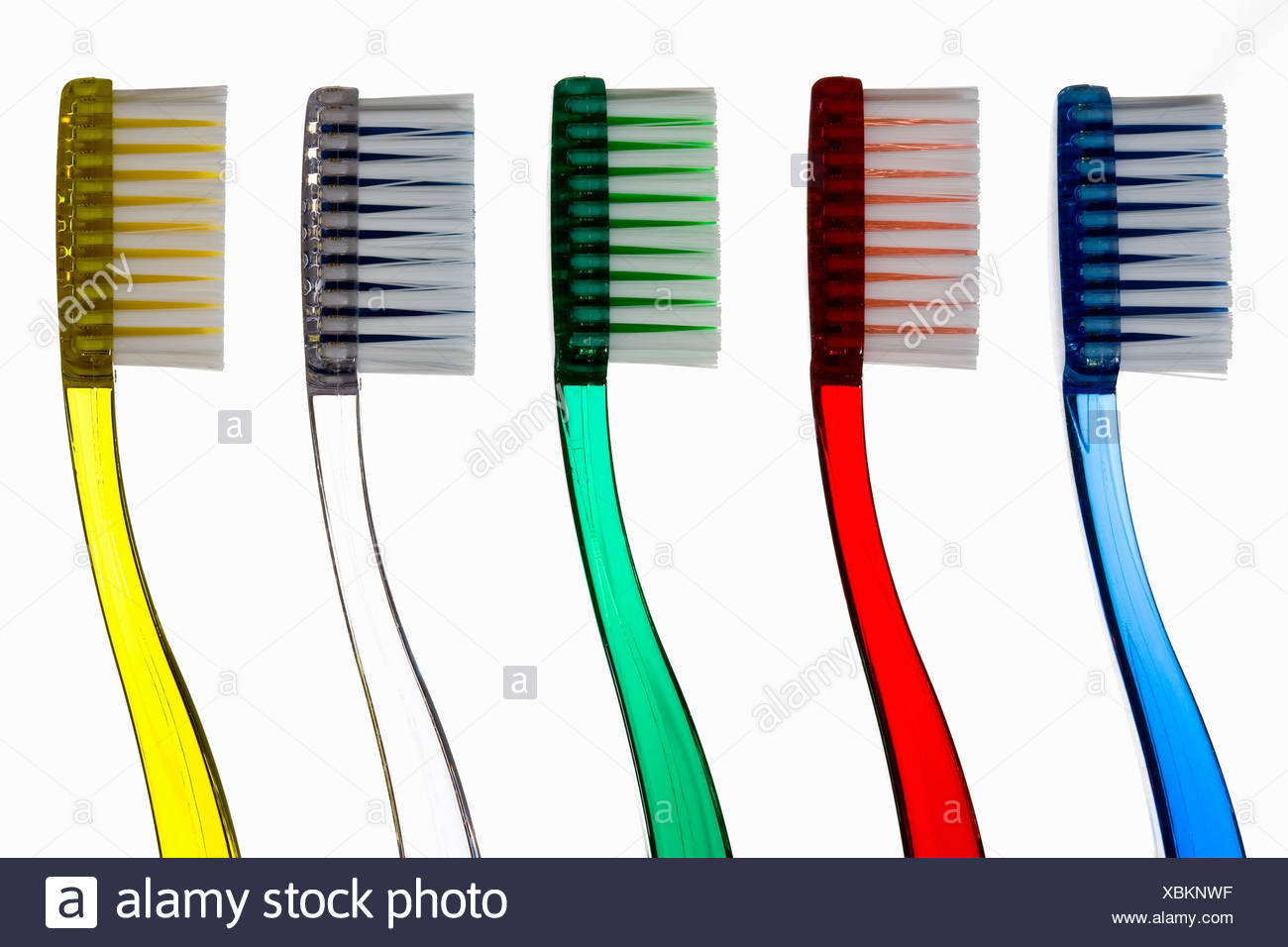 Toothbrushes in a row - Stock Image