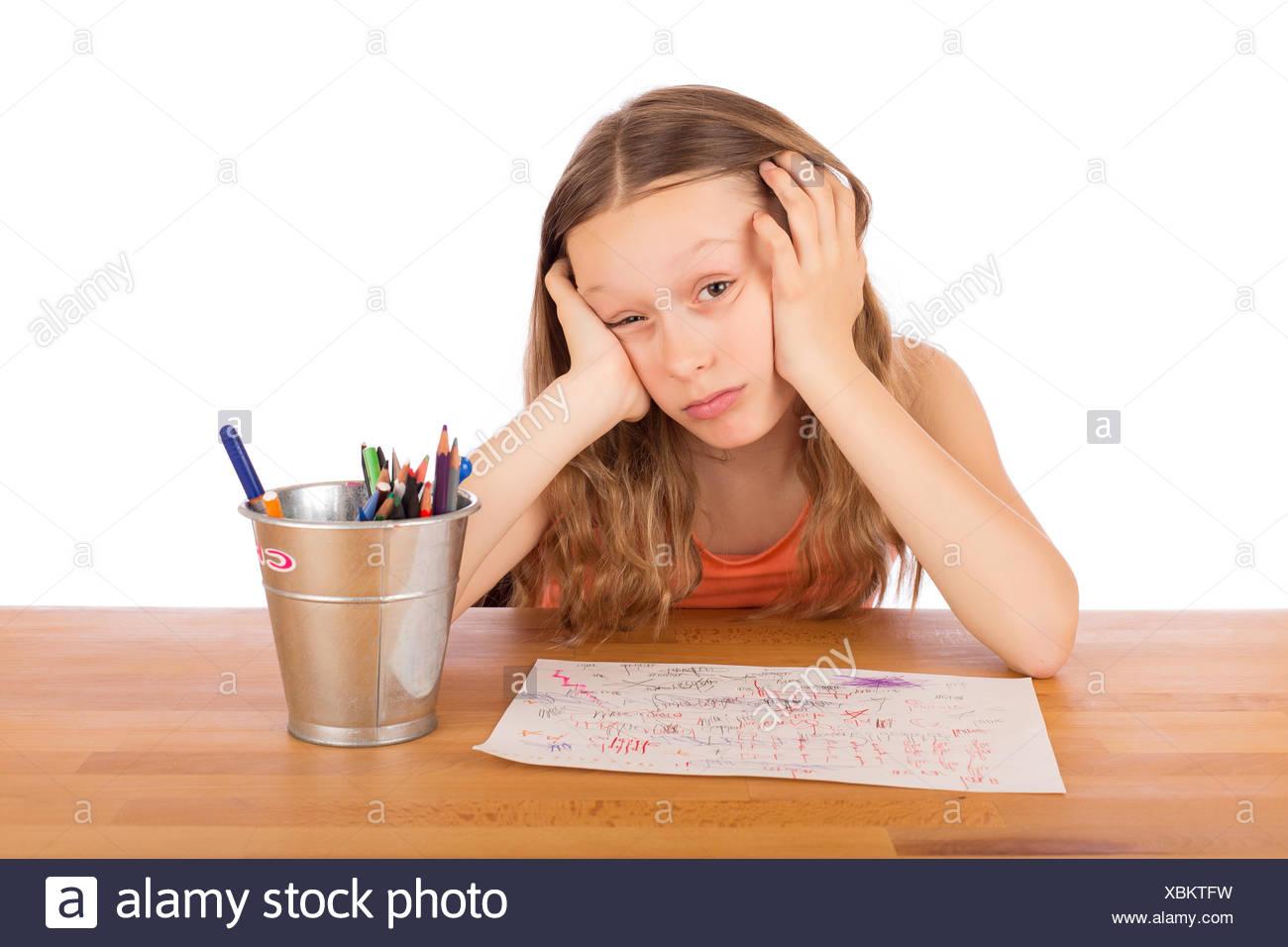Sad child lack of ideas - Stock Image