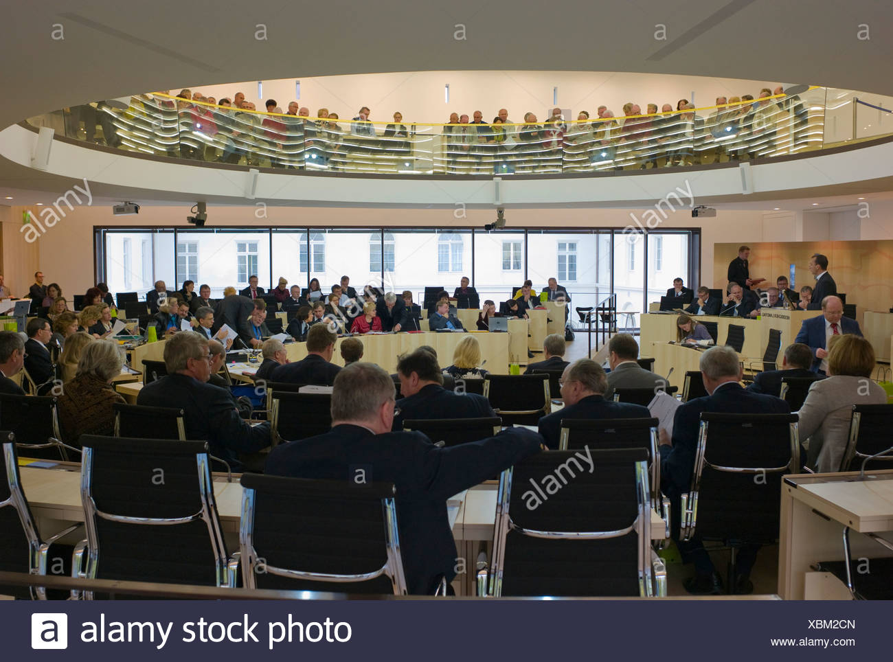 Delegates in the Plenarsaal or plenary assembly hall of the Hessian Landtag, Parliament, Wiesbaden, Hesse, Germany, Europe - Stock Image