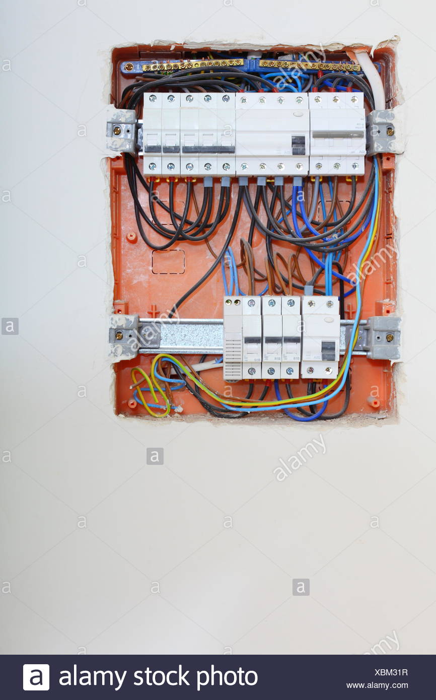 Electrical Installation Close Up Electrical Panel Electricity Distribution Box With Wires Fuses And Contactors Stock Photo Alamy