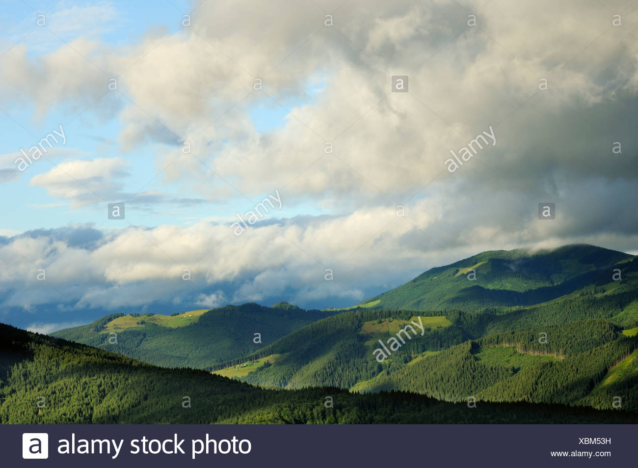 white clouds over dzembronya landscape in ukraine - Stock Image