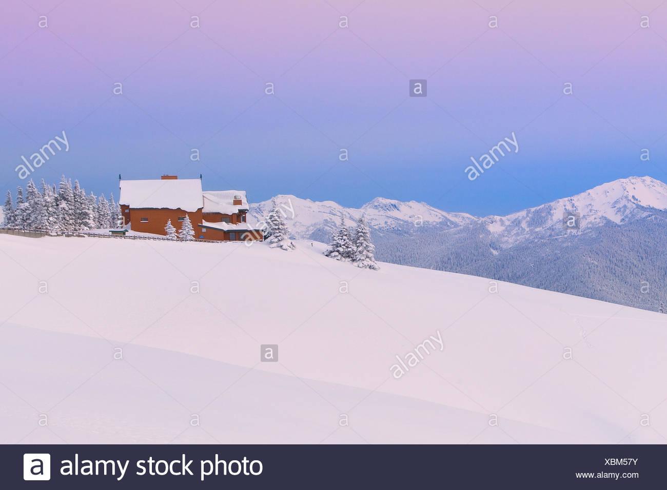 USA, United States, America, Pacific Northwest, Washington, Washington State, barn, snow, winter, landscape, house, Port Angeles - Stock Image