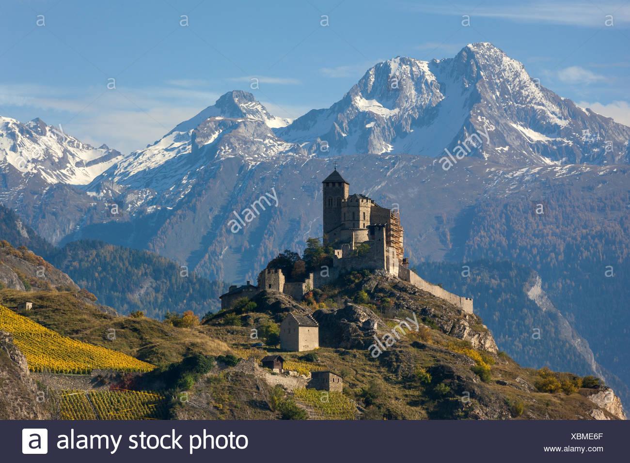 Sion, customs, Valeria, Switzerland, canton, Valais, castle hill, - Stock Image