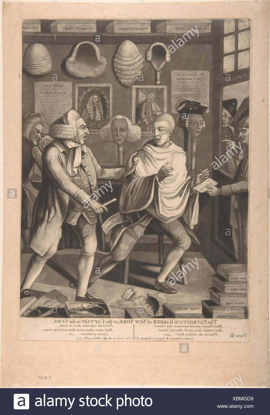 The Patriotick Barber of New York, or the Captain in the Suds. Artist: Attributed to Philip Dawe (British, 1745?-?1809); Publisher: R. Sayer and J. - Stock Image