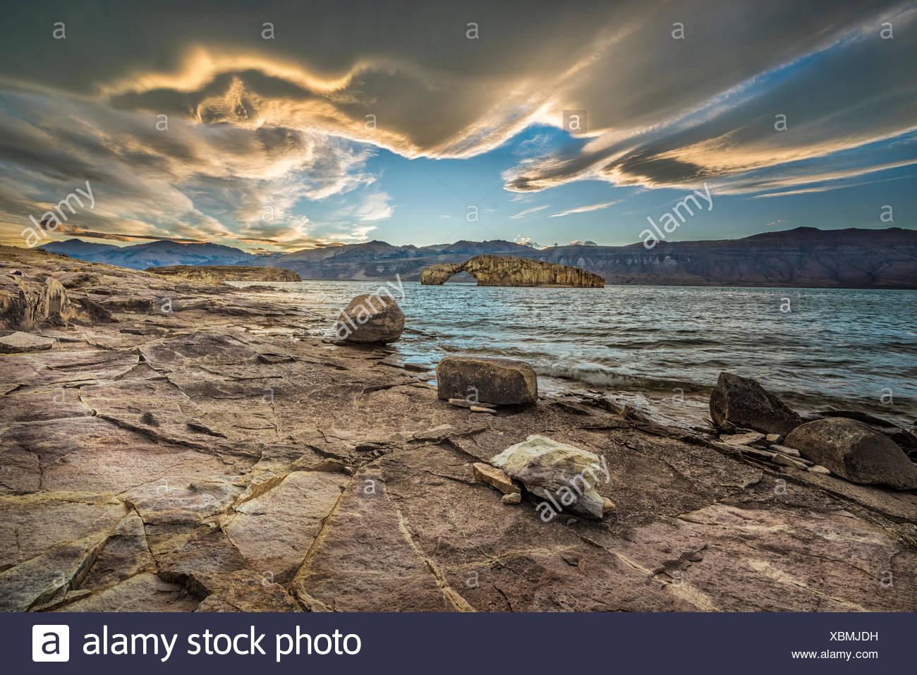 South America,Argentina,Santa Cruz,Patagonia,Lago Posadas,sunset,at Lago Posadas Stock Photo