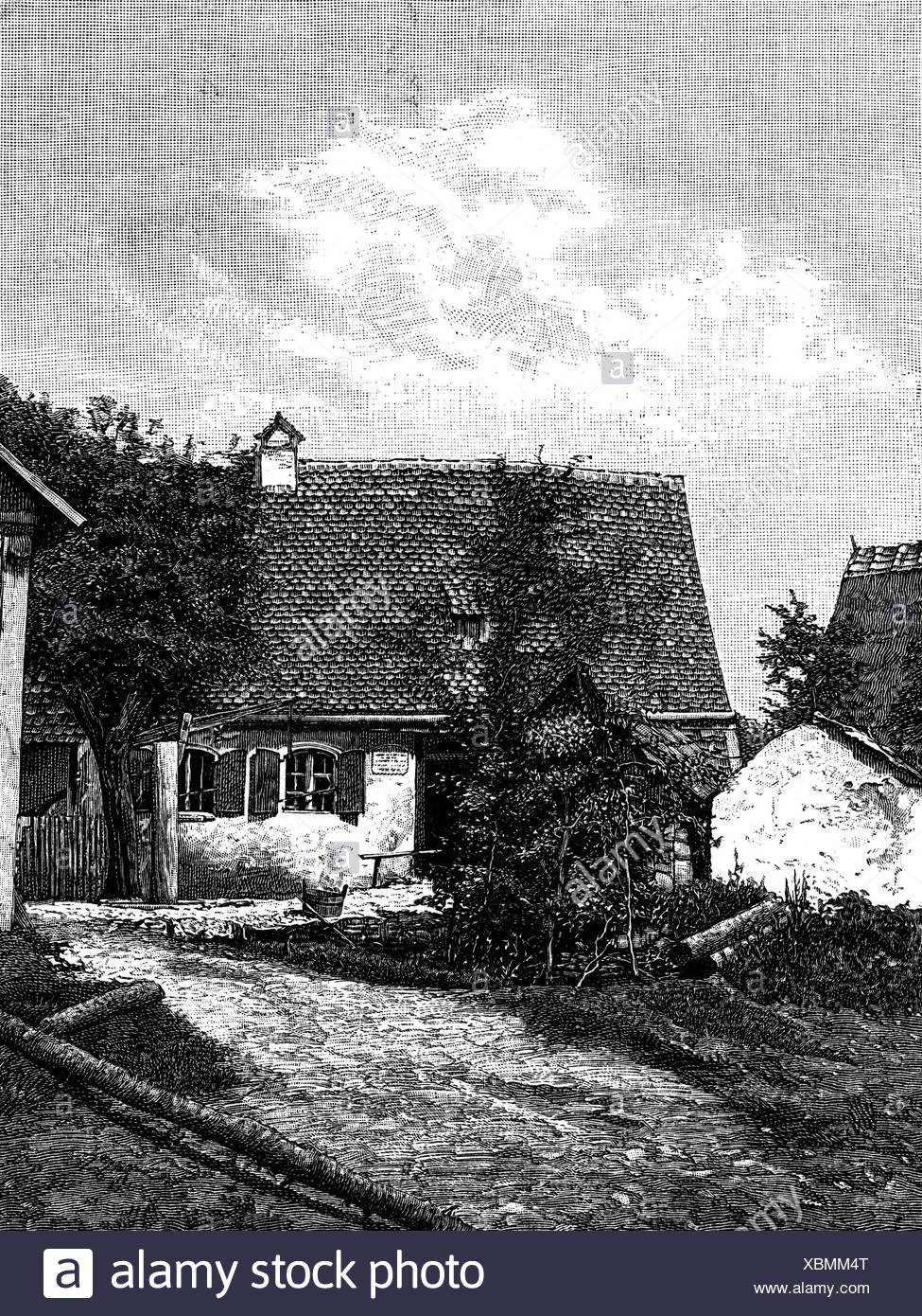 Gluck, Christoph Willibald, 2.7.1714 - 15.11.1787, German musician (composer), his birth house in Weidenwang (Bavaria), wood engraving, 19th century, Additional-Rights-Clearances-NA Stock Photo